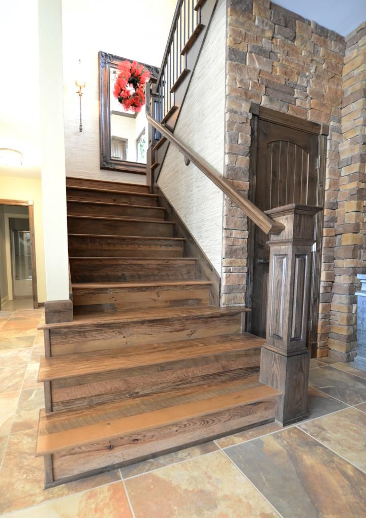 Rustic Oak Wood Treads Green Residence In 2020 Hand Hewn Wood
