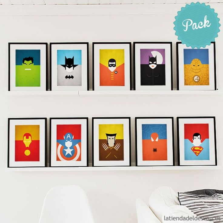 Laminas Decorativas Cuadros Pack 10 Superheroes L Minas