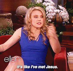 Kate McKinnon meeting Ellen Degeneres. This is how I would feel if I met Ellen.