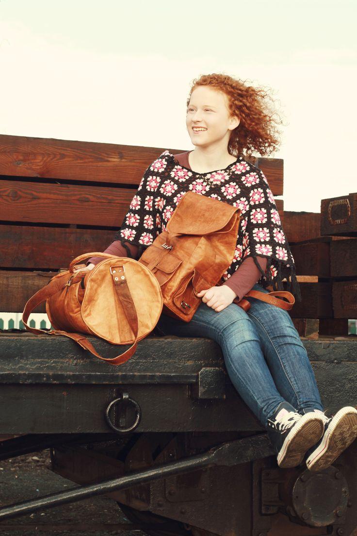 Rucksack Lederrucksack Damenrucksack Kinderrucksack echtes Leder Cityrucksack klein M60b