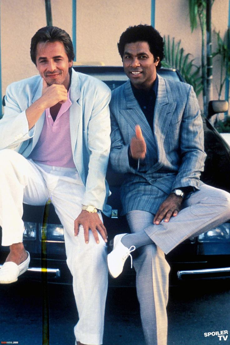"Don Johnson as James ""Sonny"" Crockett and Philip Michael Thomas as Ricardo ""Rico"" Tubbs in ""Miami Vice"""