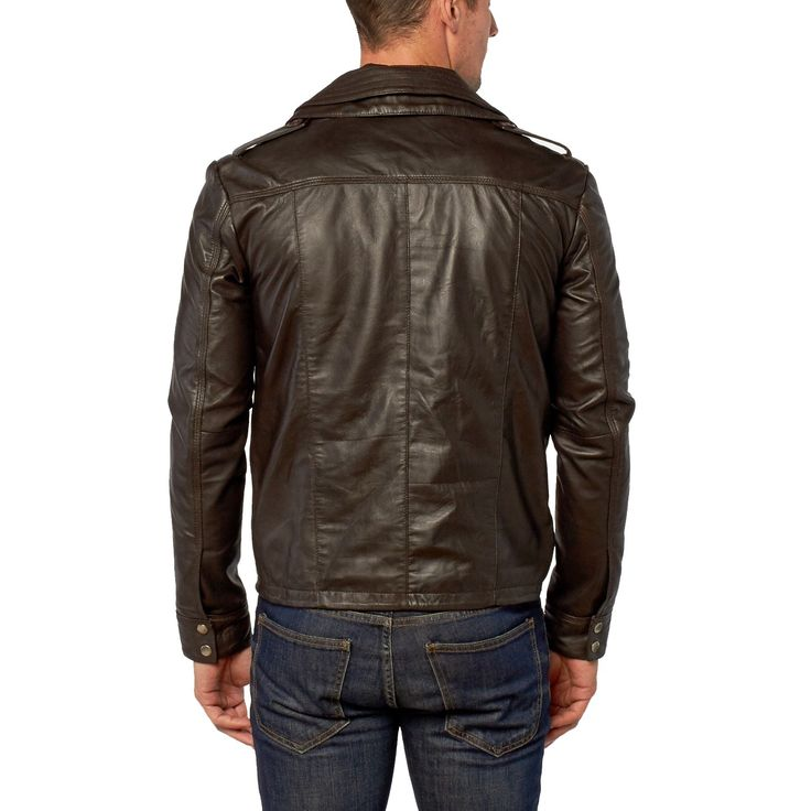 Brown Double Collar Leather Ripley Jacket | by VIPARO