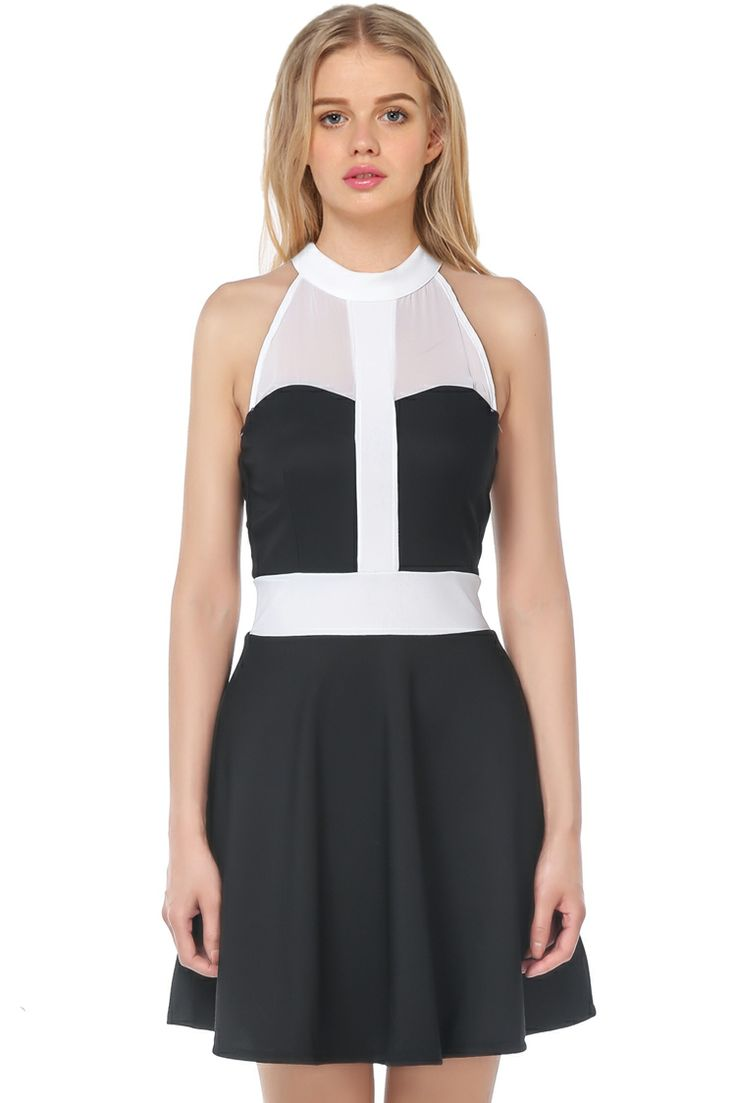 Black Contrast White Chiffon Sleeveless Pleated Dress