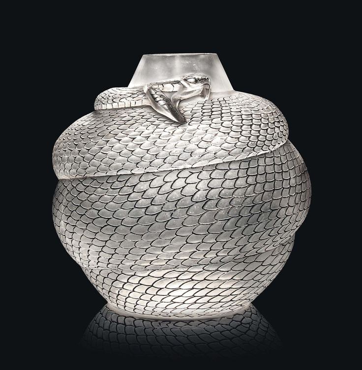 R. LALIQUE __SERPENT Vase, NO. 896 designed 1924, clear, frosted and sepia stained, intaglio
