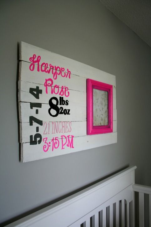 ---Please+Leave+a+note+at+checkout+with+your+child's+stats,+thank+you.---    This+customizable+birth+stat+sign+is+the+perfect+way+to+remember+your+little+one's+debut!+This+wooden+sign+features+hot+pink,+grey,+black,+and+white+-+but+if+you+would+prefer+something+different,+just+contact+me!    FRAM...