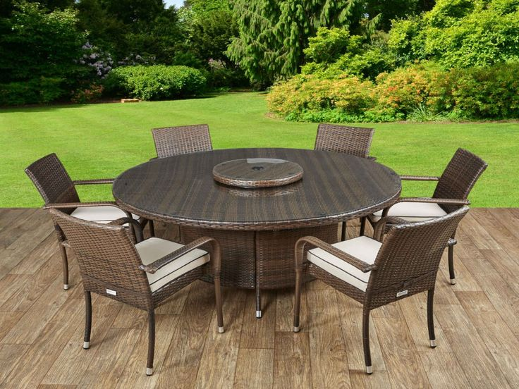 Roma 6 Rattan Garden Chairs, Large Round Table and Lazy Susan Set in Chocolate and Cream
