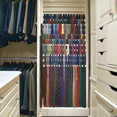 This tie rack's wooden slats, which progress step-like from floor to ceiling, are tilted forward 20 degrees so that the ties hang unobstructed. |  Photographs: Alan Shortall | thisoldhouse.com