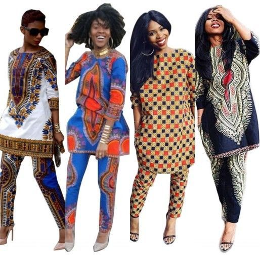 f1b5a7f6c92 Women Traditional African Print Dashiki Suit Long Sleeve Tops + Pants  Trousers