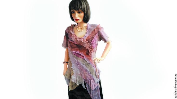 Купить Туника Крем брюле - кремовый, абстрактный, розовый, бежевый, легкая…
