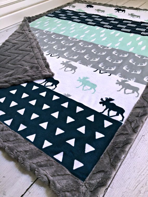 Grays blue and moose are perfect for a little boys room
