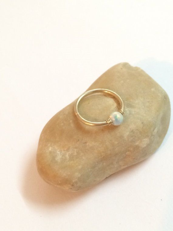 Opal, Gold, Hoop Nose ring! This Etsy shop has great jewelry reviews too