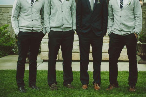 Mountain Wedding, groom, groomsmen, green, navy, cardigans