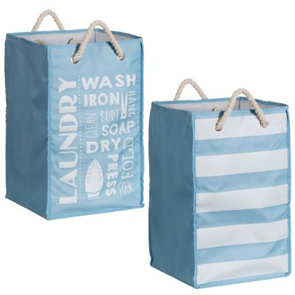 b u0026 m printed foldable laundry bag with rope handle laundry linen basket