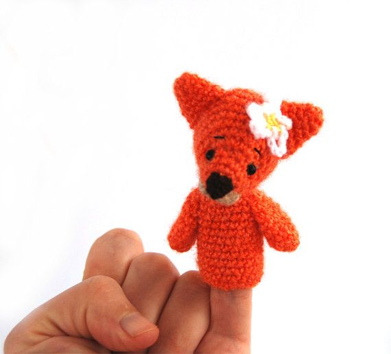 $21.56  FOX finger puppet, #Montessori #toy for #toddlers, #pretend #play, #fairy #tale #creature, #woodland #animal #doll, #crochet #fox #puppe