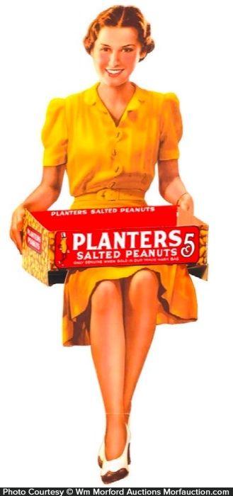 Antique Advertising | Planters Peanuts Display Sign • Antique Advertising