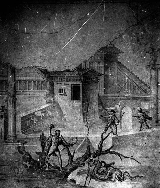 IX.8.6 Pompeii. W.1449.    Drawing of wall painting of the liberation of Hesione, from the west portico of the peristyle.    Photo by Tatiana Warscher. Photo © Deutsches Archäologisches Institut, Abteilung Rom, Arkiv.    See http://arachne.uni-koeln.de/item/marbilderbestand/231877