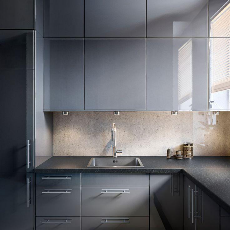 Ikea Kitchen Reno: FAKTUM Kitchen With ABSTRAKT Grey High-gloss Doors/drawers