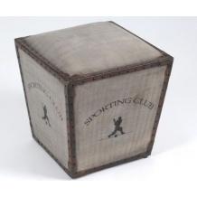 Pouf Sporting club cuir et coton Amadeus en vente au www.legrenierdejuliette.com