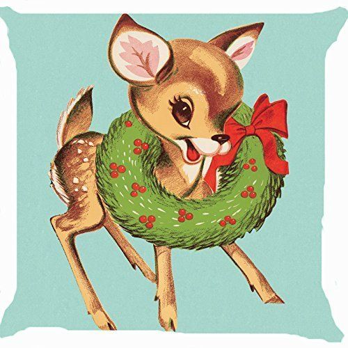 Leaveland Retro Vintage Baby Santa Claus Reindeer Flower Wreath Cute Pillow Cover 18 x 18 Inches >>> Be sure to check out this awesome product.