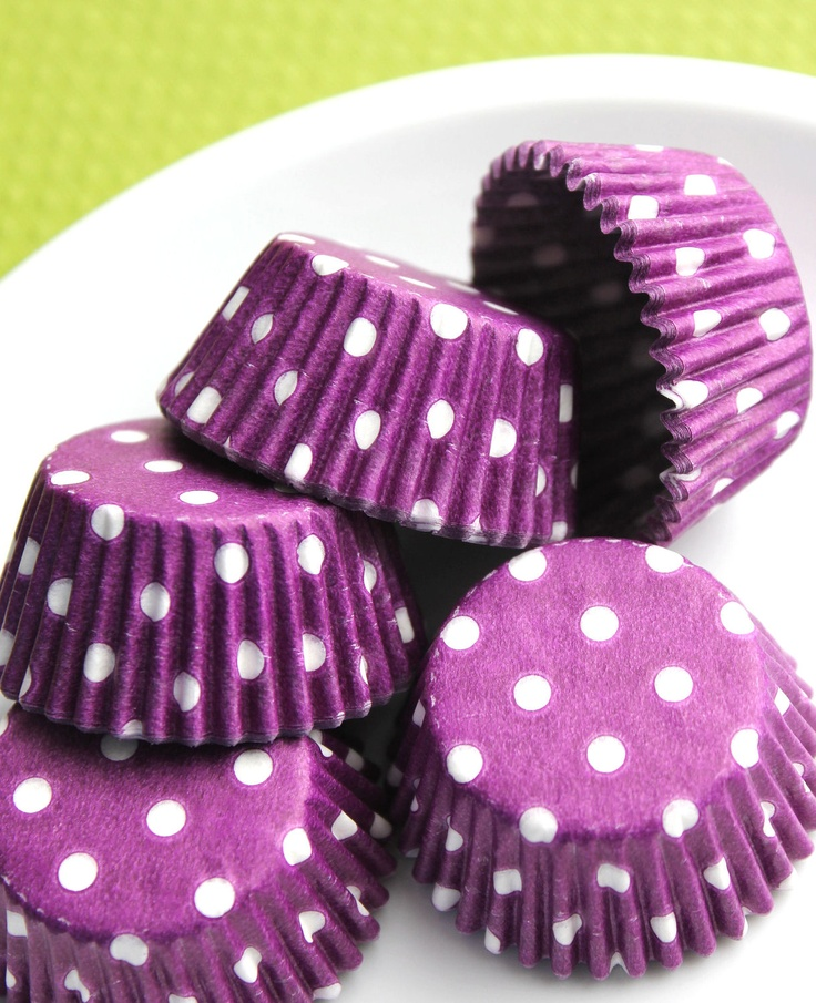 Mini Purple Polka Dot Cupcake Liners by thebakersconfections