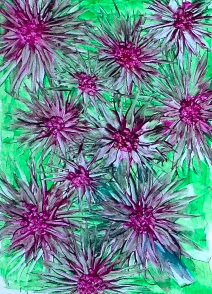 Hotplate flowers by Phil Madley painted in encaustic wax