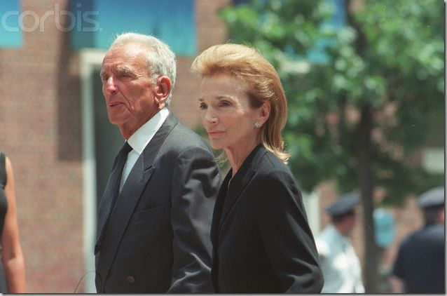 Jackie's sister, Lee, and her third husband, Herb Ross attend the memorial service for her nephew, JFK, Jr., 39, and his wife, Carolyn Bessette-Kennedy, 33; on July 22, 1999. Two weeks later, John's cousin, and Lee's only son, Anthony Radziwill would succumb to cancer. He was just 40 years old.