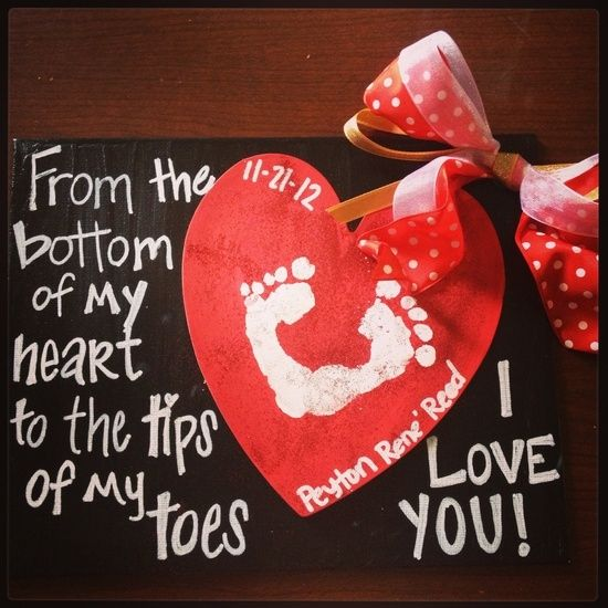 Baby footprint craft ... This would be so cute for valentines day for Daddy