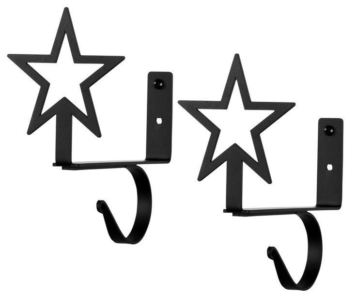 Wrought Iron Star Curtain Rod & Shelf Brackets