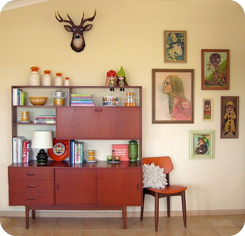 A bright and happy retro-styled Sunshine Coast apartment, filled with Blythe dolls | Offbeat Home midcentury bar living room credenza console