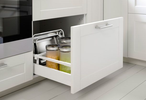 Apothekerschrank Ikea Metod ~ Geöffnete untere Schublade in METOD Unterschrank mit 2 GRYTNÄS