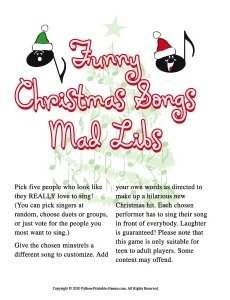 Funny Christmas Songs Mad Libs