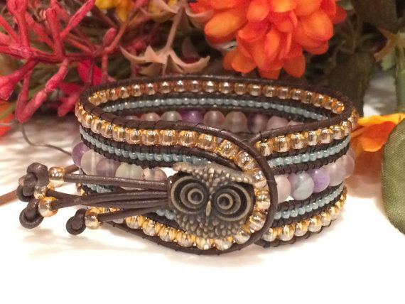5 Row Beaded and Leather Cuff Bracelet with Purple Fluorite Stones and Owl Button- Western cuff bracelet- Boho style bracelet