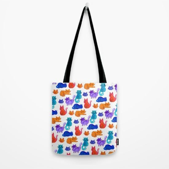 Fluffy Watercolor Cat Pattern Tote Bag by Erika Biro | Society6