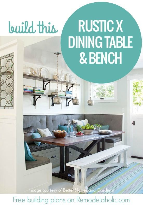 Rustic X Dining Table And Bench Building Plan Woodworking