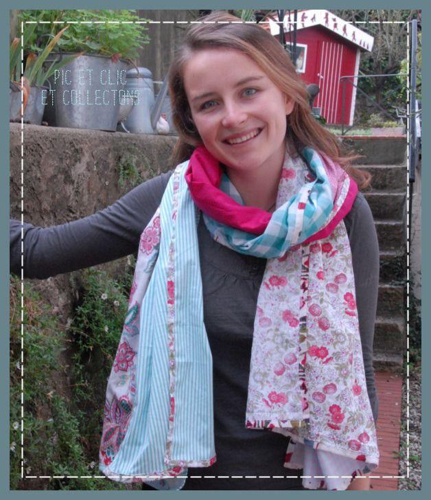 chèche foulard écharpe en patchwork tons acidulés, rose indien et turquoise : Echarpe, foulard, cravate par pic-et-clic-et-collectons