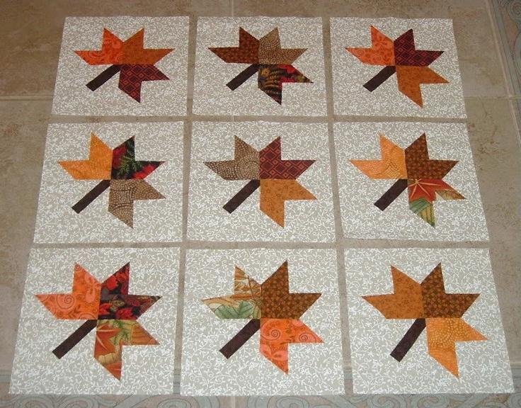 9 Fall Autumn Maple Leaf Quilt Blocks 13 95 Via Etsy