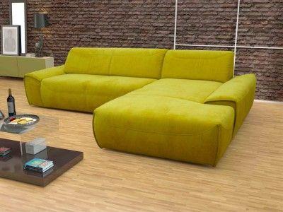 dreams4home polsterecke london sofa ecksofa sitzverbreiterung couch wohnlandschaft gelb gr n. Black Bedroom Furniture Sets. Home Design Ideas