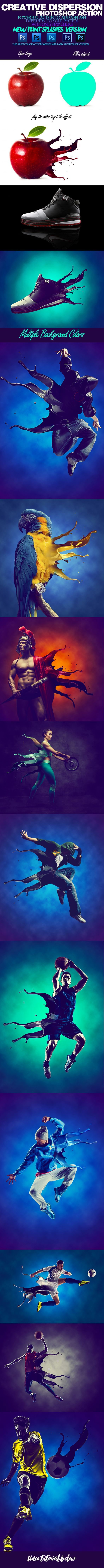 3D Splashes V1.1 Dispersion Photoshop Action - Photo Effects Actions
