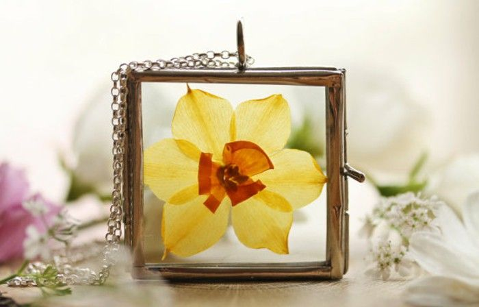 Silver jewelry pendants necklace handmade herbarium Daffodil