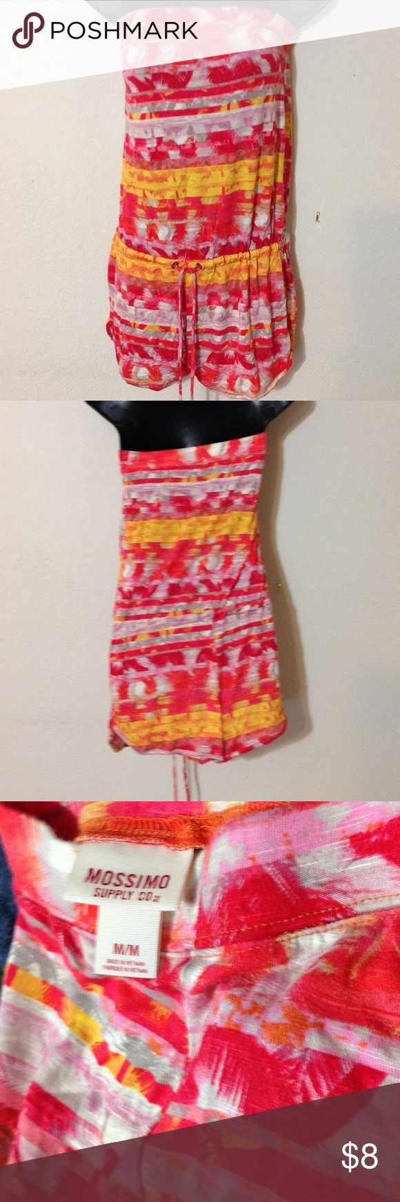 Junior romper by Mossimo Red and yellow Mossimo romper with waste ties in gently used size medium.  Plenty of summer left to romp around. Mossimo Supply Co Pants Jumpsuits & Rompers