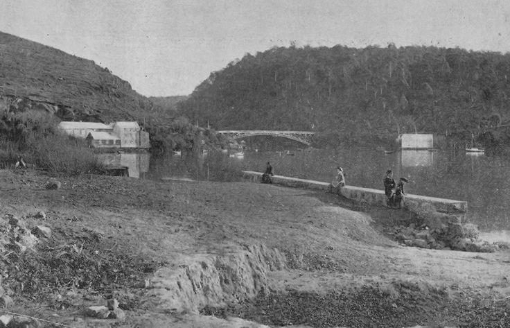 Tamar River Mill and original Iron Bridge, Launceston 1880