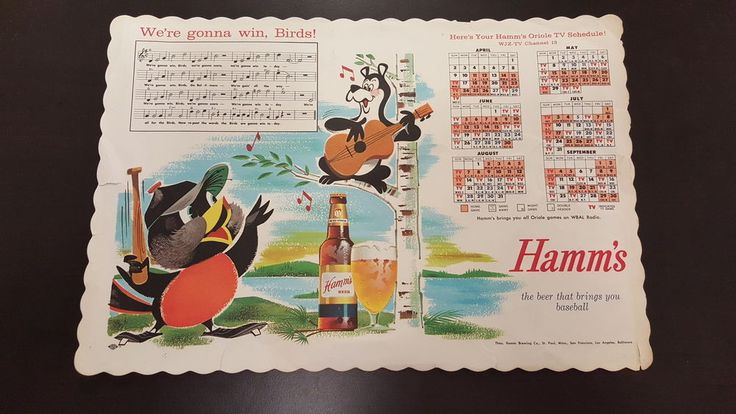 1961 Baltimore Orioles #Baseball Schedule Hamm's Beer Placemat from $4.99