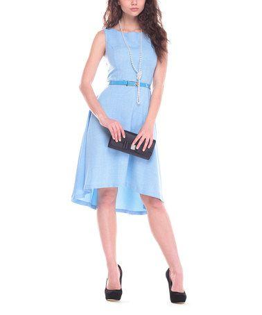 This Light Blue Belted Sleeveless Dress is perfect! #zulilyfinds
