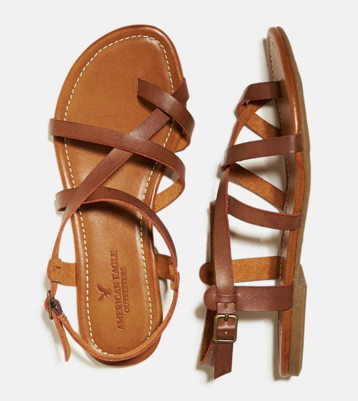 $30.00 - Dark Brown AEO Strappy Criss Cross Sandal
