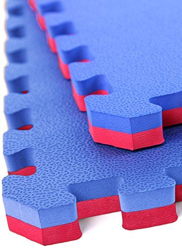 """IncStores - 1"""" MMA Interlocking Foam Tiles (Blue/Red, 10 Tiles) - Perfect for martial arts, lightweight home gyms, p90x, Insanity, gymnastics, yoga, cardio, aerobic, and plyometric exercises:   Our 1"""" MMA tiles are constructed of high density closed cell EVA foam which makes them very shock absorbent while being water/mold/mildew resistant and easy to clean. Our 1"""" MMA tiles come with 2 edge pieces, are easy to install, and typically ship the same or next business day./p *** Note:/b Fo..."""