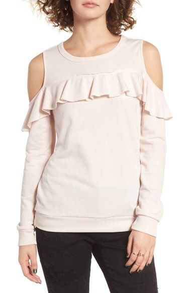 Socialite Ruffle Cold Shoulder Pullover available at #Nordstrom