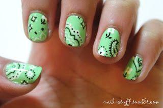 Bandana nail art paisley nails, country pattern, western, rodeo