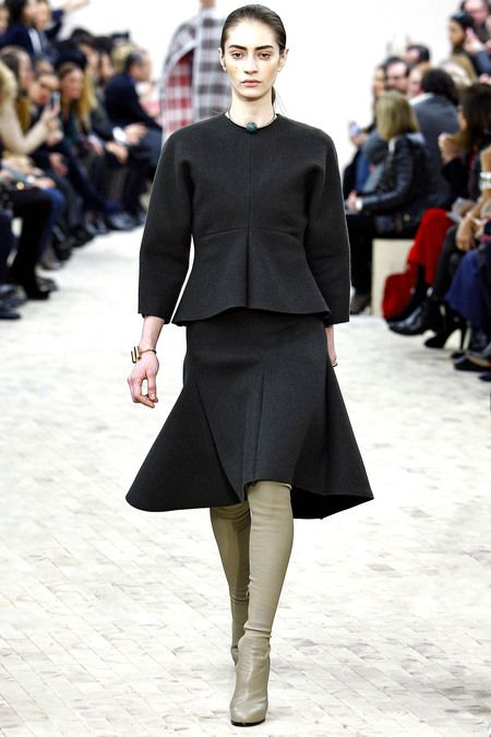 Celine Fall 2013 RTW at Paris Fashion Week. Darker shades, tulip skirt, second-skin boots.