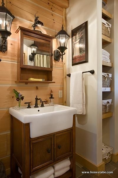 Clayton Log Cabin Was Created To Evoke The Feel And Look Of Historic Log Cabins Created Master Bathroom Vanitymaster Bathroomsbathroom