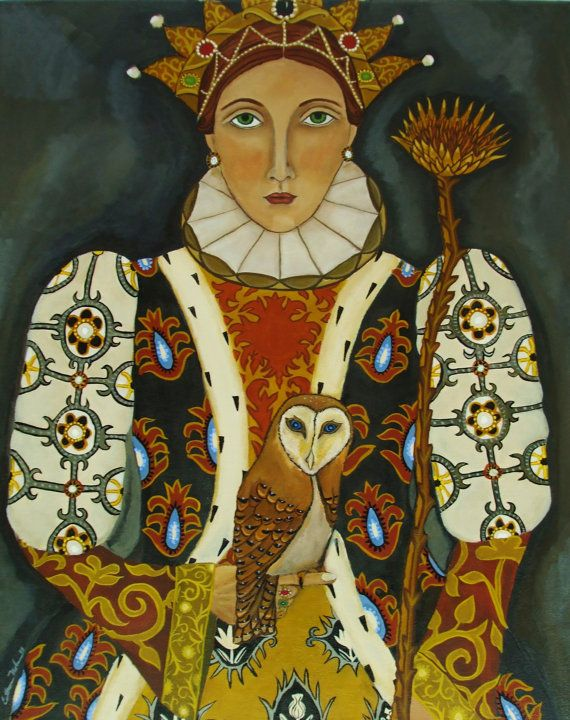 Portrait painting Her Majesty The QueenOwls by CatherineNolinArt, $21.00
